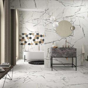 Azulejo porcelánico lagom white ambiente